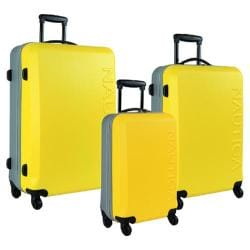 Nautica Ahoy Yellow/Silver 3-piece Hardside Spinner Luggage Set