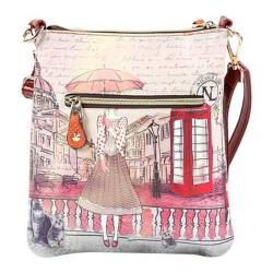 Women's Nicole Lee Claire Blocked Euro Print Messenger Bag Clock Tower