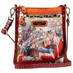 Women's Nicole Lee Claire Blocked Euro Print Messenger Bag Thoughts of You