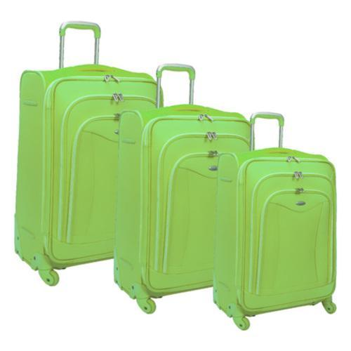 Olympia Luxe 3 Piece Luggage Set Apple Green
