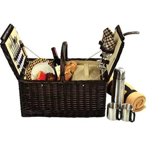 Picnic at Ascot Surrey Picnic Basket for Two with Blanket/Coffee Brown Wicker/London Plaid