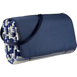 Picnic Time Blanket Tote XL Blue Stripes/Navy