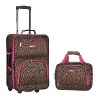 Rockland 2 Piece Luggage Set F102 Pink Leopard