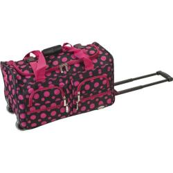 Rockland 22in Rolling Duffle Bag Black Pink Dot