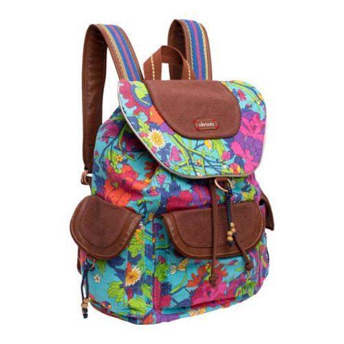 Women's Sakroots Artist Circle Flap Backpack Aqua Flower Power - Thumbnail 2