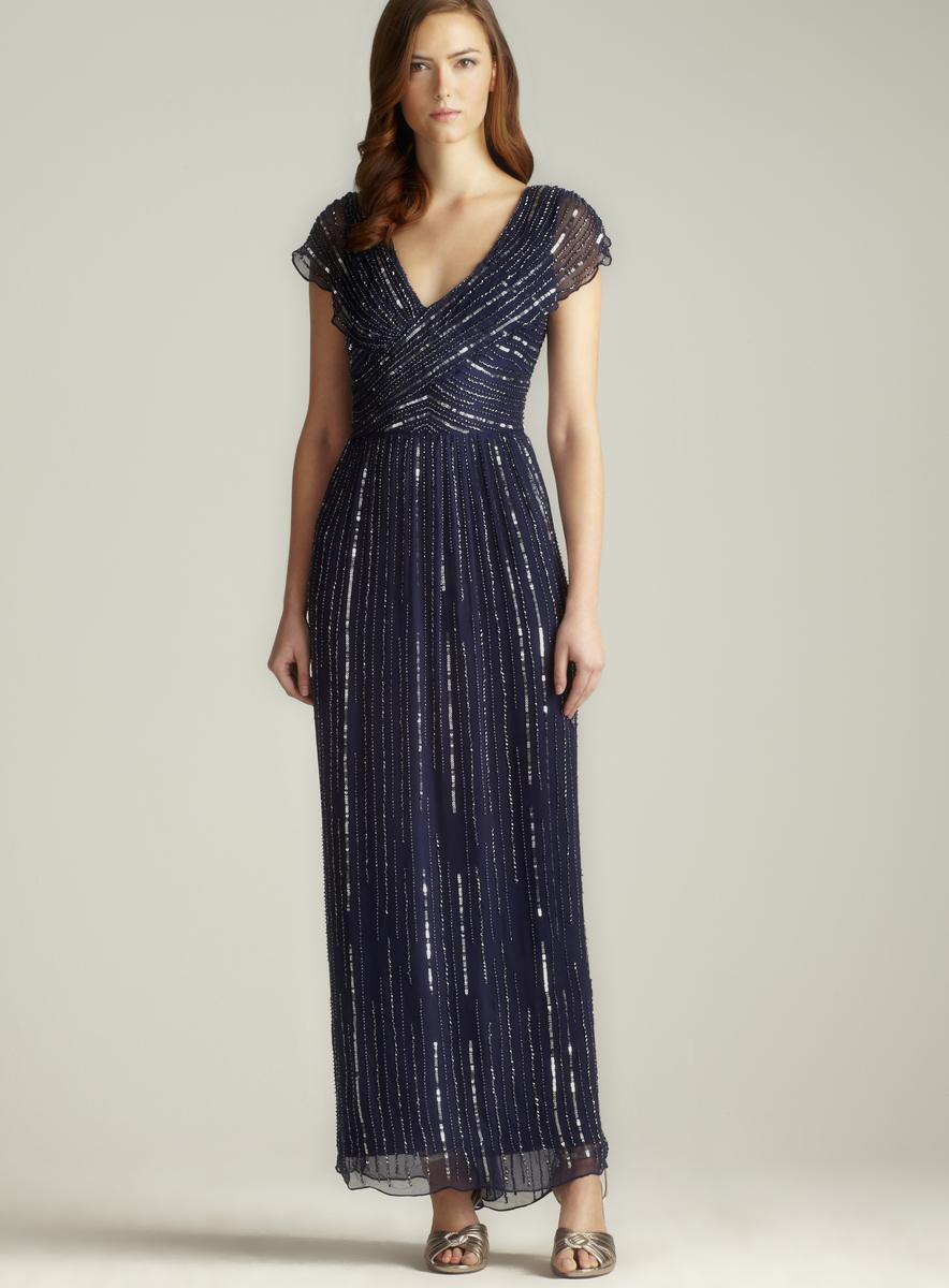 Patra Silk Beaded Draped Shoulder Gown