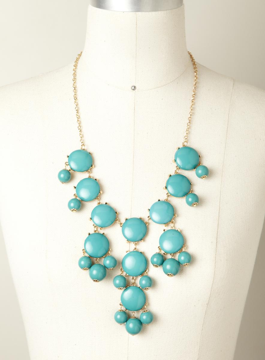 Stephan & Co Drop Cluster Bubble Necklace