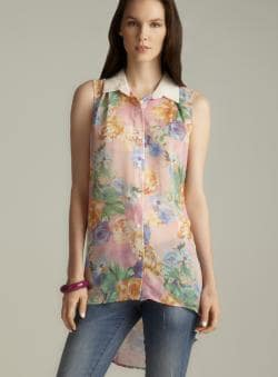 Lovemarks Back Pleated Hi-lo Floral Button Down