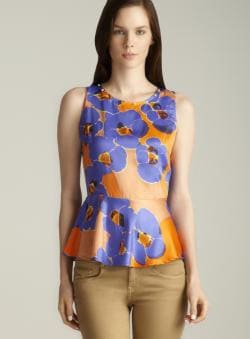 Romeo & Juliet Couture Studded Neckline Floral Printed Peplum