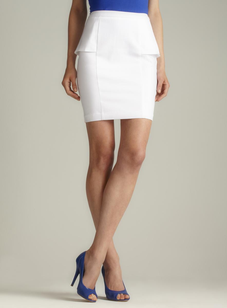 Premise White Side Peplum Pencil Skirt - Free Shipping On Orders ...
