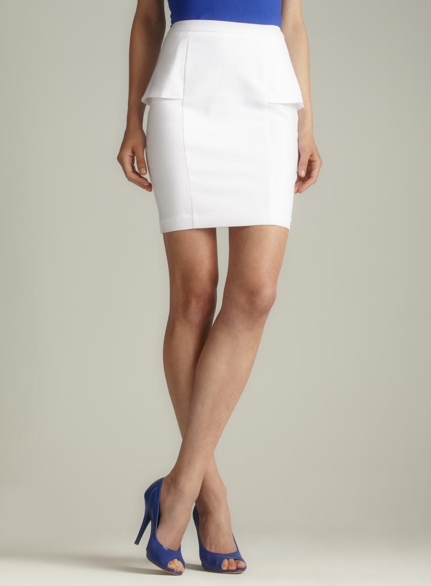 Premise White Side Peplum Pencil Skirt - Free Shipping On Orders ...