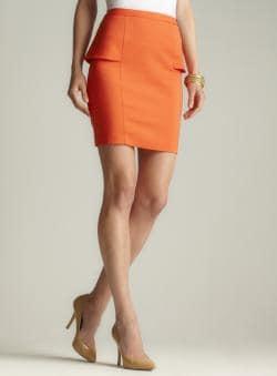 Premise Coral Side Peplum Pencil Skirt