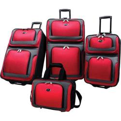US Traveler New Yorker 4 Piece Luggage Set Red
