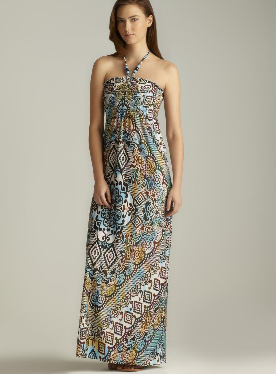 Ninety Printed Beaded Halter Maxi Dress