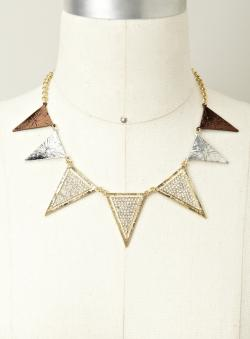 Finesse Textured Metal & Crystal Triangle Necklace