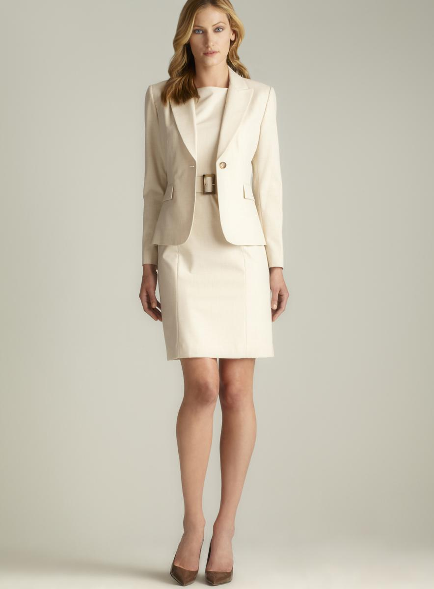 Tahari One Button Belted Dress Suit