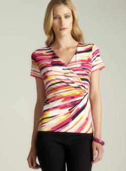 Calvin Klein Hardware Side Gathered Printed Top