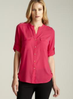 Calvin Klein Hibiscus Tab Sleeve & Hem Button Down Top