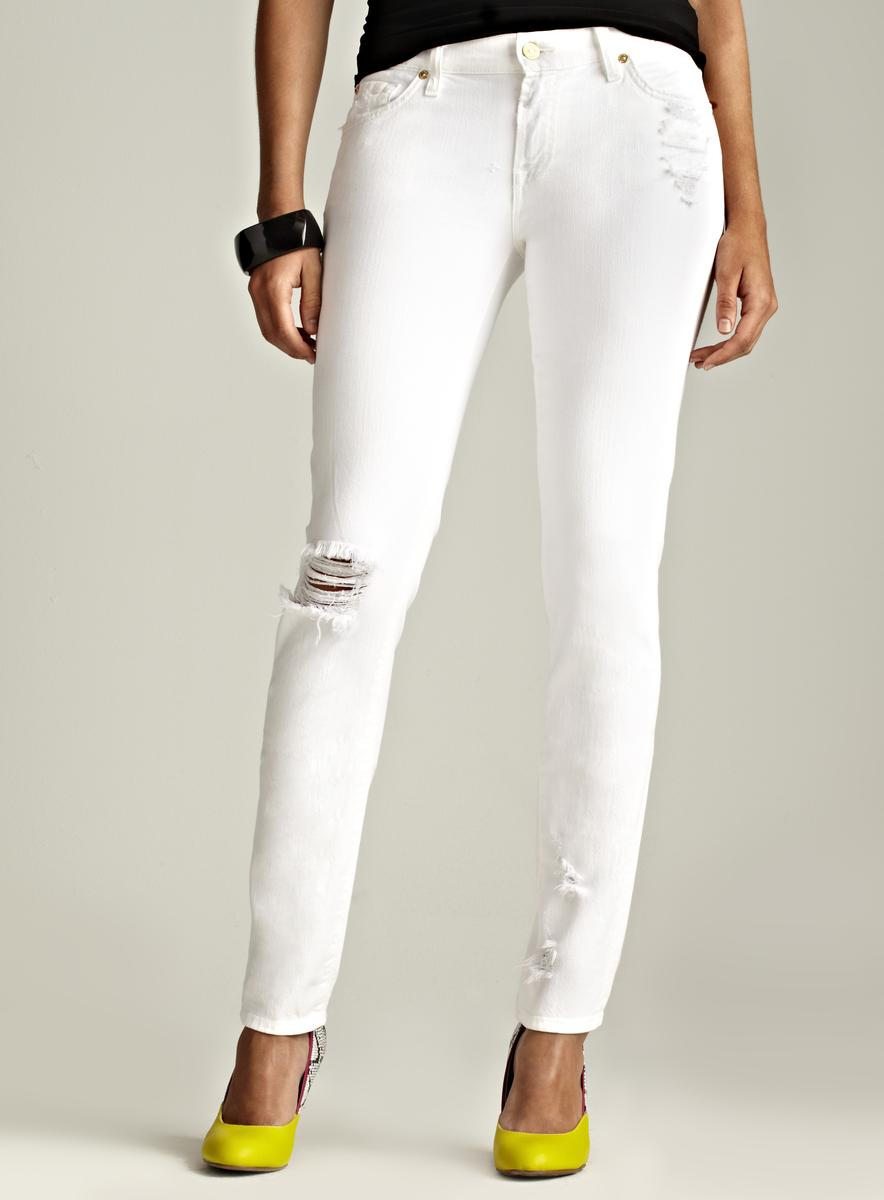 7 For All Mankind White Slim Fit Distressed Jeans