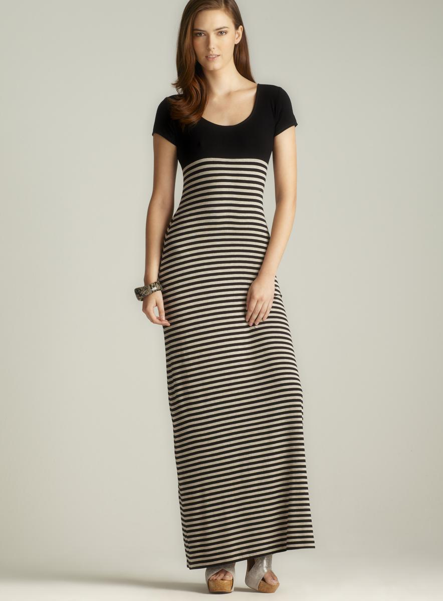 Max Studio Black Scoop Neck Striped Maxi Dress