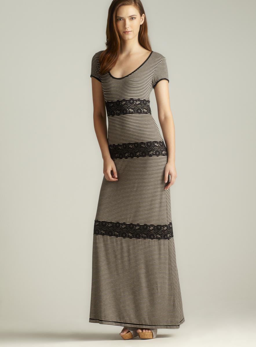 Max Studio Scoop Neck Striped Lace Maxi Dress