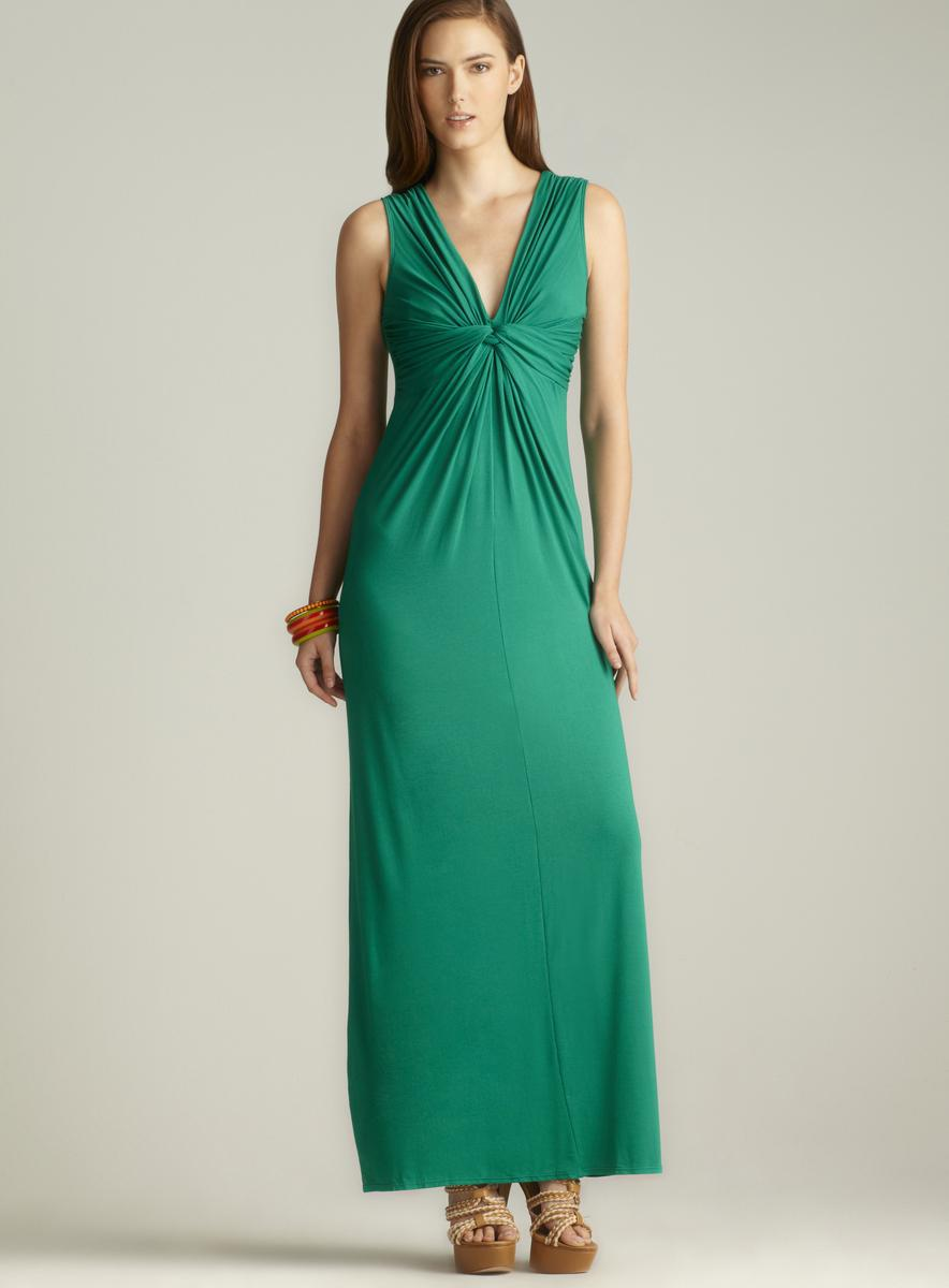 Max Studio V Neck Knotted Front Maxi Dress Free Shipping