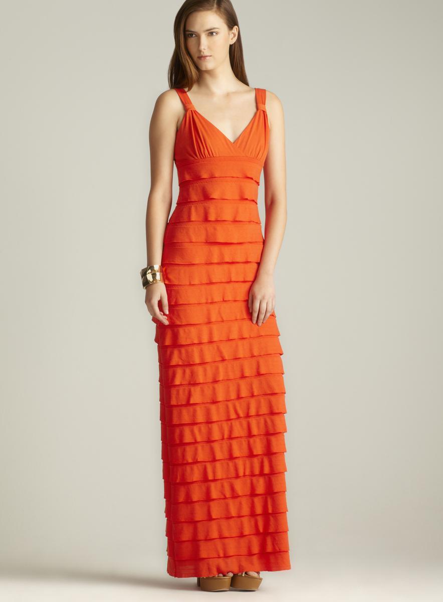Max Studio V-Neck Tiered Jersey Maxi Dress