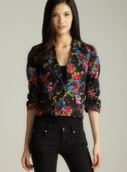 Laundry Ruched Sleeve Floral Printed Jacket