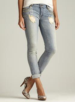 Romeo & Juliet Couture Stud Embellished Boyfriend Jeans