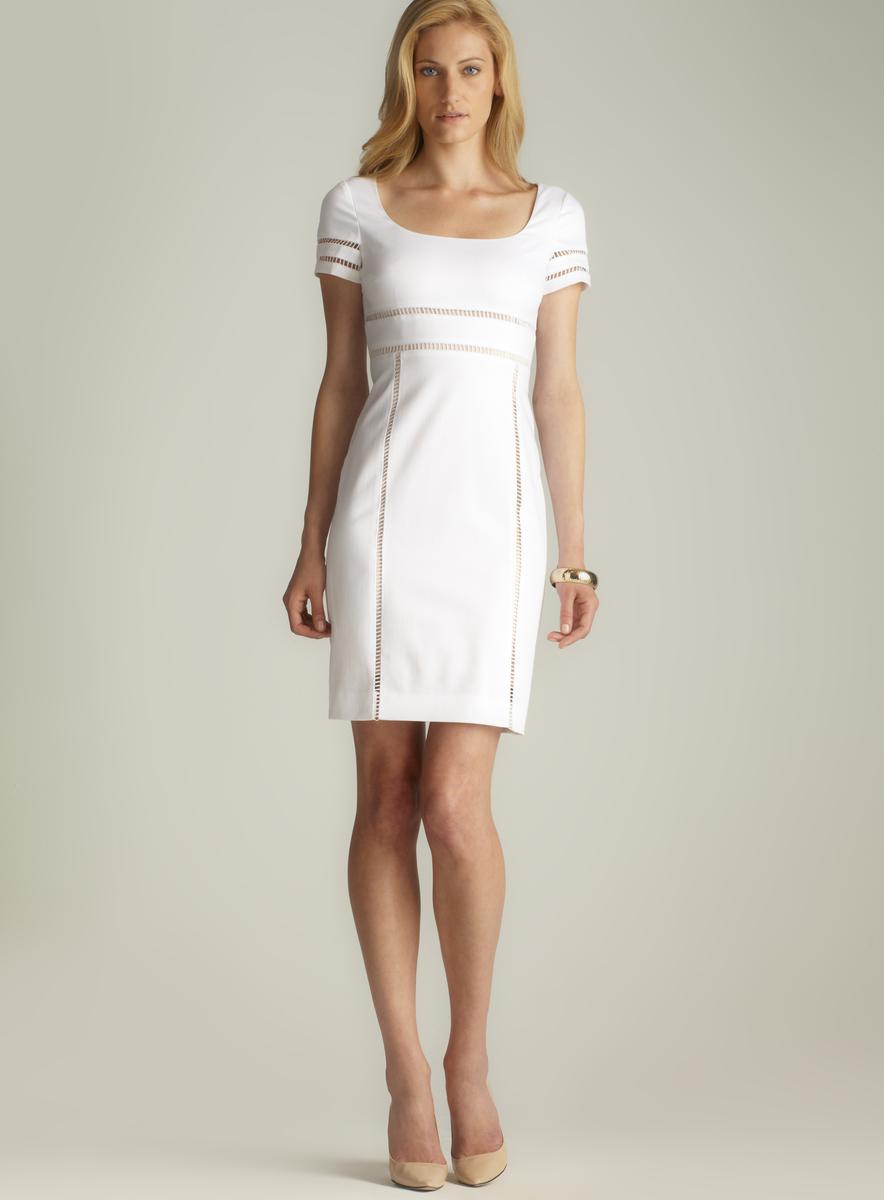 Tahari Zipper Back Cotton Poplin Sheath Dress