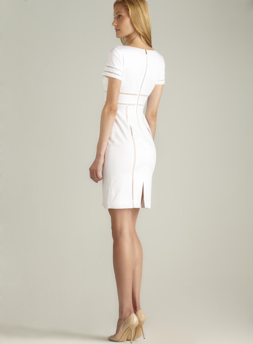 Tahari Zipper Back Cotton Poplin Sheath Dress - Thumbnail 1