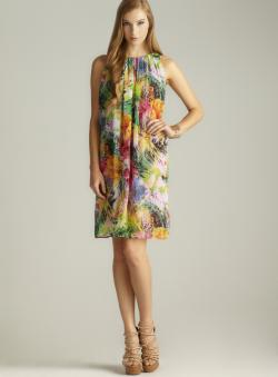 Isaac Mizrahi Tie Back Floral Printed Chiffon Dress