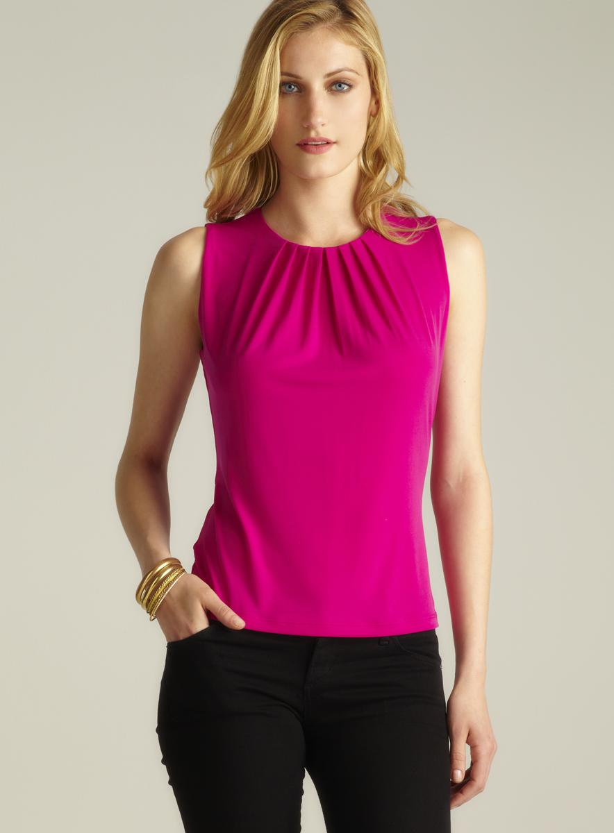 Calvin Klein Sleeveless Pintucked Top