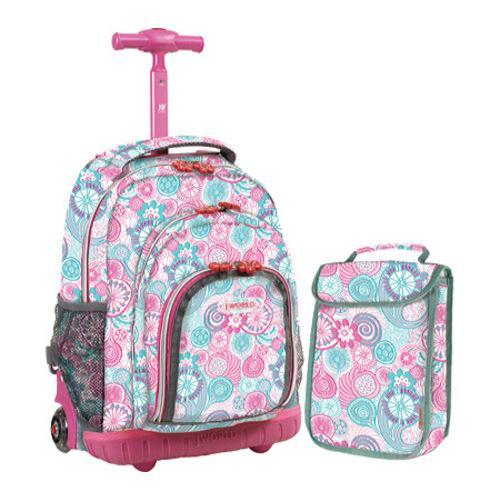 Children's J World Lollipop Sparkling Rolling Backpack w/ Lunch Bag Blue Raspberry