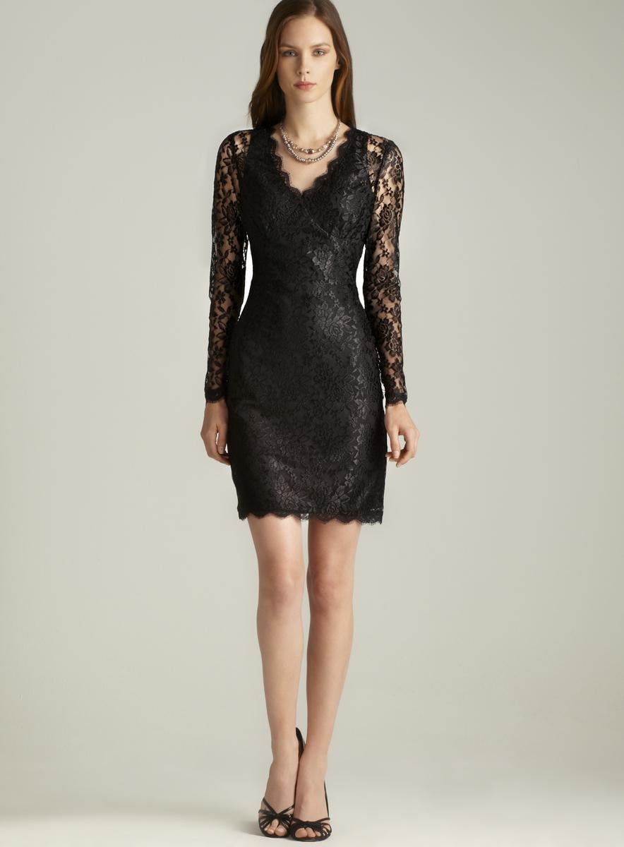 Adrianna Papell Long Sleeve V-Neck Lace Dress
