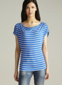 Joseph A Blue Ruched Shoulder Striped Top