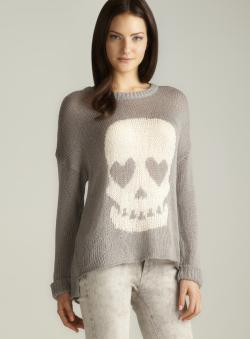Vintage Havana Cuffed Sleeve Skull Knitted Sweater