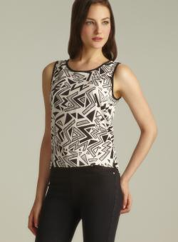 Angie Back Button Down Geographic Print Tank