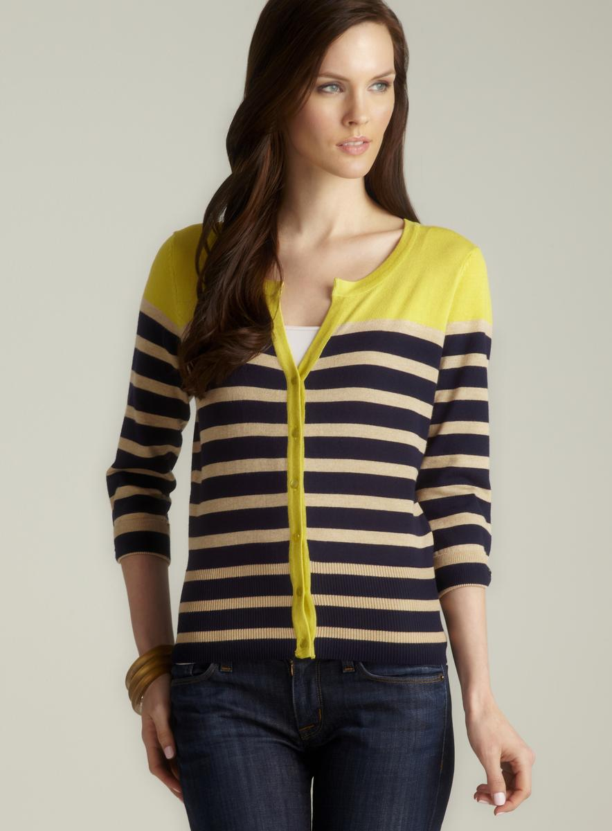 Cyrus Petite Colorblock Striped Cardigan, Yellow
