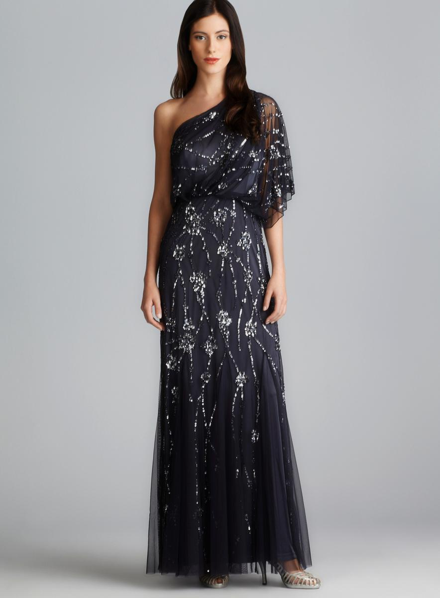 7689ec18383 Shop Adrianna Papell One Shoulder Sequin Embellished Gown - Free Shipping  Today - Overstock - 8267992