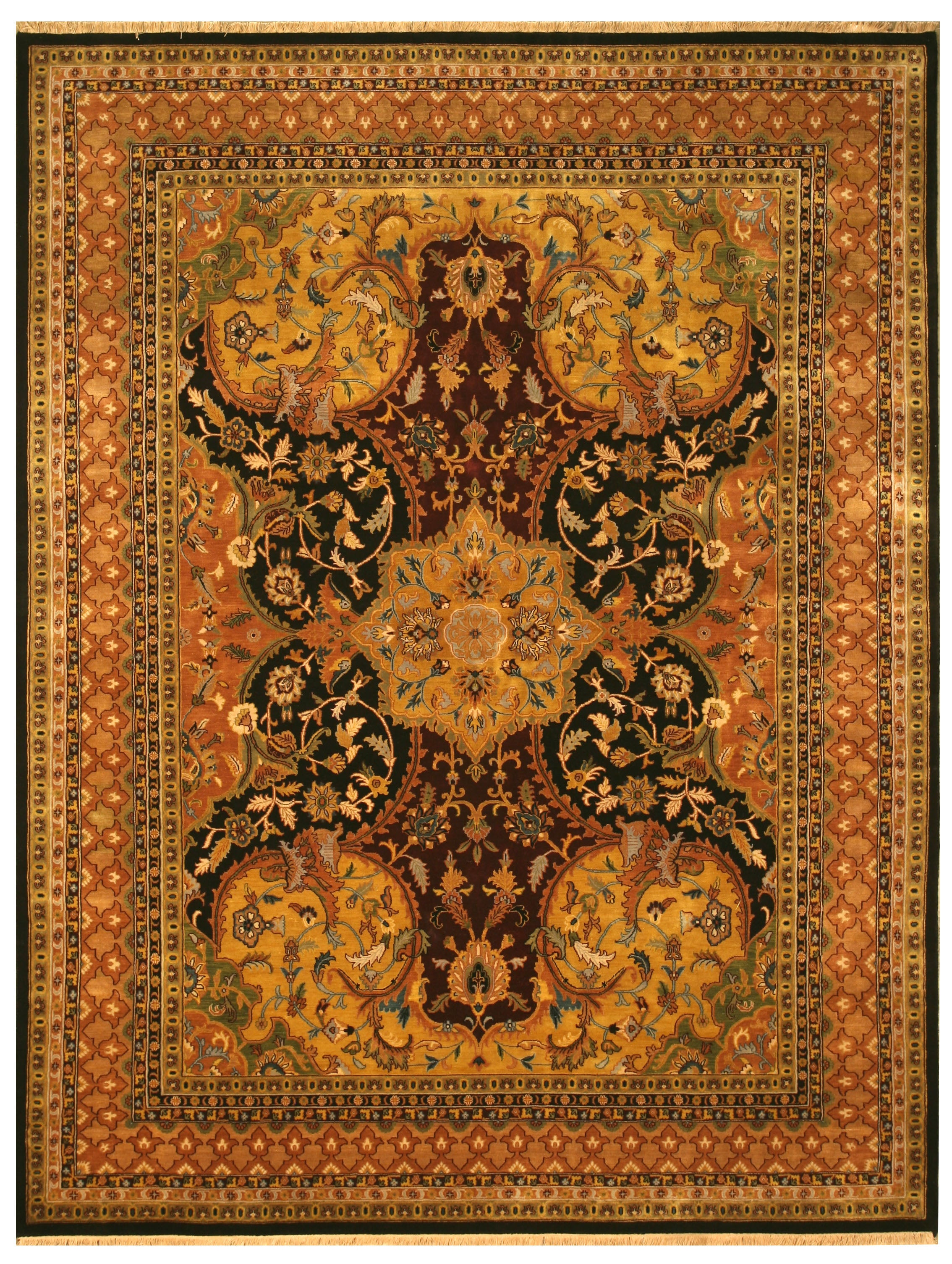 Hand-knotted New Zealand Wool Black Transitional Oriental Polonaise Rug (10' x 14')