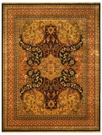 Hand-knotted New Zealand Wool Black Transitional Oriental Polonaise Rug (10' x 14') - 10' x 14'