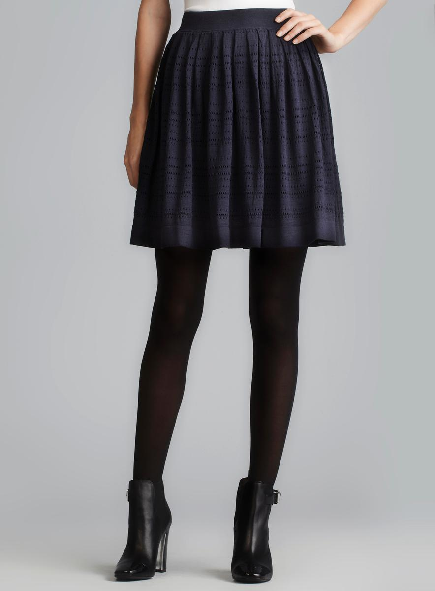 French Connection Lizzie Eyelet Knit Flared Skirt