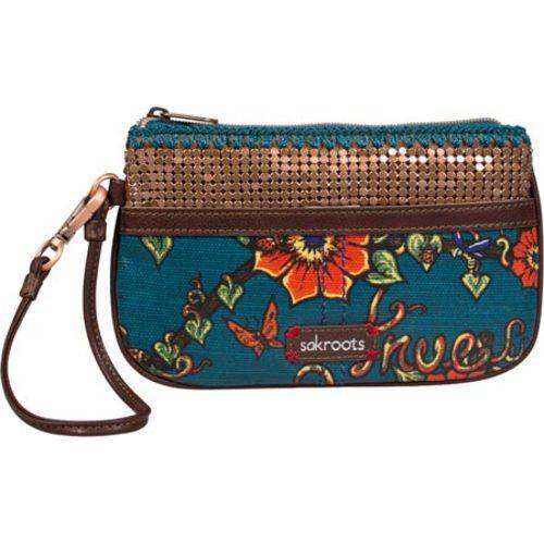 Women's Sakroots Artist Circle Large Wristlet Lagoon True Love
