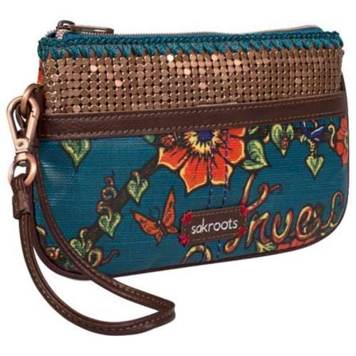 Women's Sakroots Artist Circle Large Wristlet Lagoon True Love - Thumbnail 2