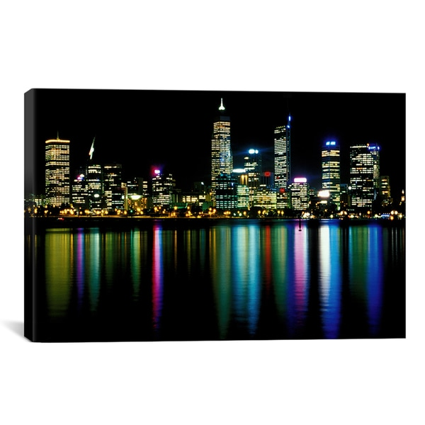 Shop iCanvas \'Downtown City Lights\' Canvas Wall Art - On Sale - Free ...