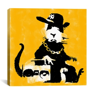iCanvas Banksy 'Ganster Rat (Yellow)' Canvas Art
