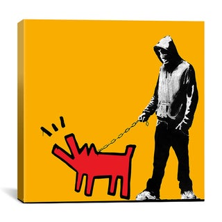 iCanvas Banksy 'Choose Your Weapon Keith Haring Dog (Orange Color)' Canvas Art