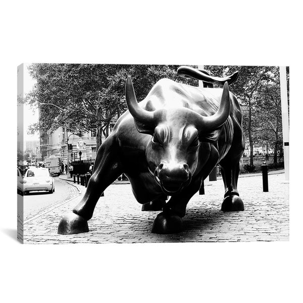 Shop ICanvas 'Wall Street Bull Black And White