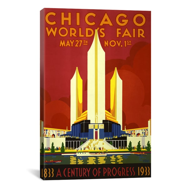 iCanvas 'Chicago World's Fair 1933 Vintage Poster' Canvas Giclee Art Print